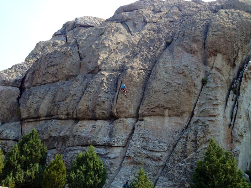 Three great sport routes:  Built for Comfort, Muffin Top and Love Handles - all between the climber and the small bush.