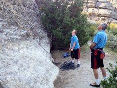 Rock Climbing Photo: Tweedledee and Tweedledum.  Son #2 belays son #1. ...