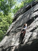 Rock Climbing Photo: Following The Entertainer (5.10a). Junkyard Wall, ...