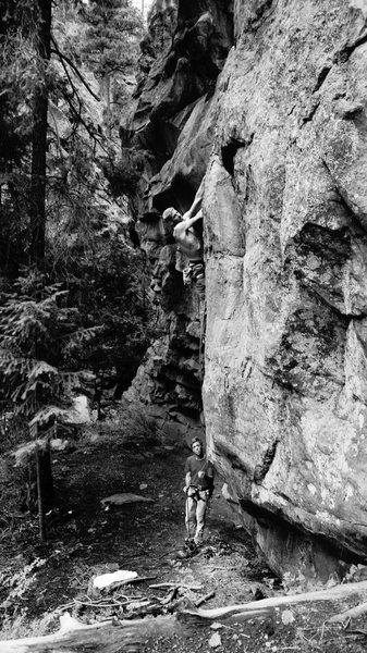 Rock Climbing Photo: JJ Schlick and Josh Cross warm up on Gandy Dancer.