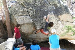 Rock Climbing Photo: Gaining the holds back on the original line.