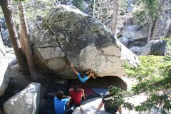 Rock Climbing Photo: Will makes the long reach out to the hold on the l...