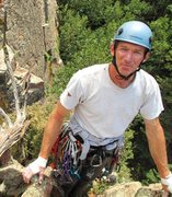 Rock Climbing Photo: Greg Graef near the summit of the Santa Maria