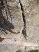 Rock Climbing Photo: Looking down at Jeff from anchors at the top of th...