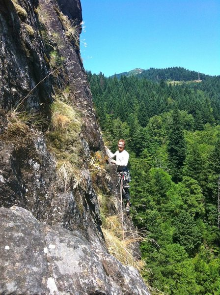 Rock Climbing Photo: Starting P3 (view from the not recommended tree be...