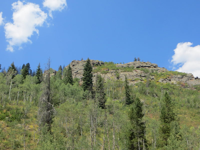 This is what the crag looks like from the pullout on the road.