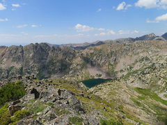Rock Climbing Photo: Looking back to Pitkin Lake on the grassy approach...