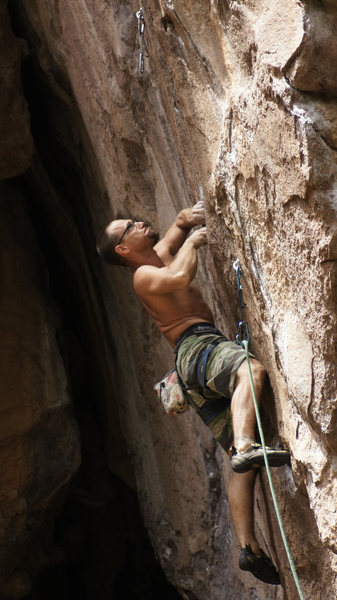 Rock Climbing Photo: Matt G. giving Steel Reserve a strong attempt.