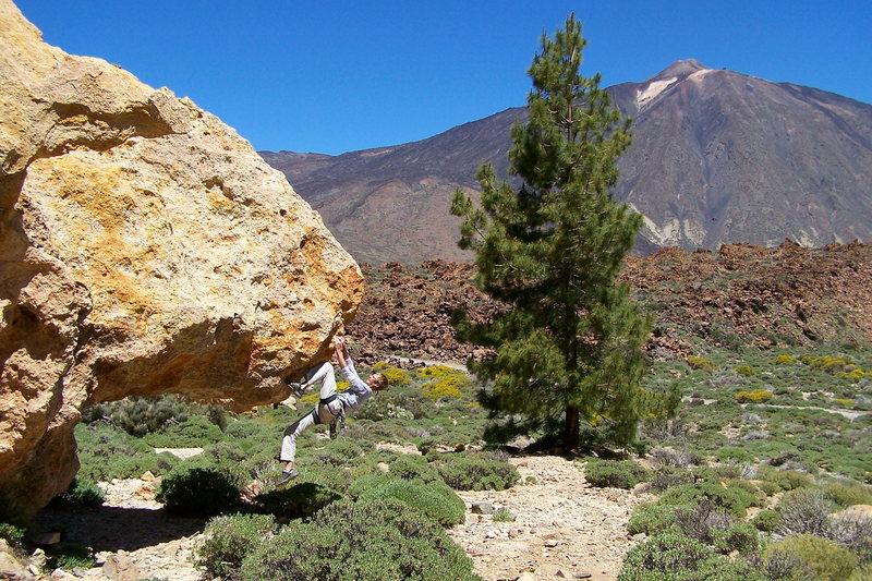 Rock Climbing Photo: Tennis shoe bouldering in the Teide National Park,...