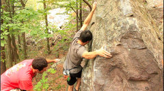 Rock Climbing Photo: Nathan committing to the scary thumb mantel at the...