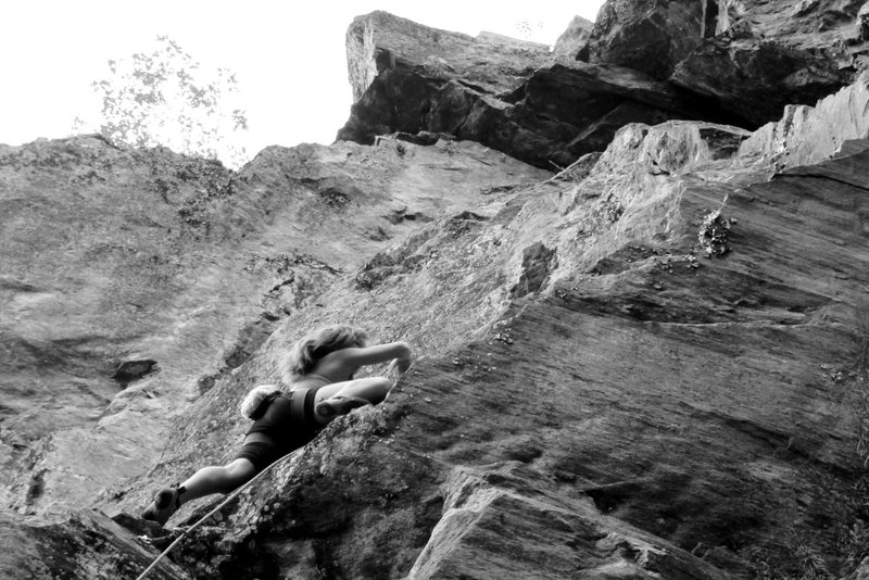 chloe on the most fun part of the route... the righteous traverse