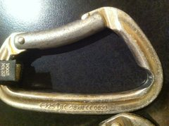 Pulled this carabiner, and a few others that resemble it, off of sooper kreem last time I was out there. The edge in the rope groove was so sharp it resembled a kitchen kife. Careful out there on popular routes, fixed draws wear quickly!