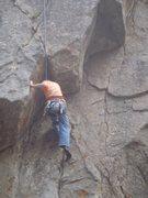 Rock Climbing Photo: Mix-a-lot on the crux move.