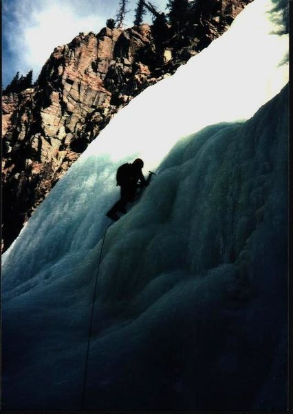 Charlie Ware leading final pitch on early ascent (1977) of Deer Park Creek Falls.