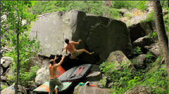 Rock Climbing Photo: Kind of a committing move.  Falls can be violent i...