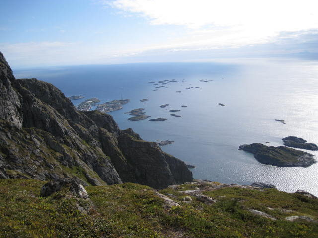 View from the top. Henningsvaer in the background