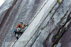 Rock Climbing Photo: A climber laybacking Apron Strings.