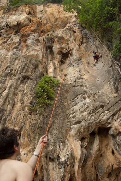 Ben Lindsay climbing on the west side of Railay Beach