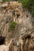 Rock Climbing Photo: Ben Lindsay climbing on the west side of Railay Be...