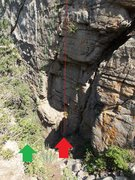 Rock Climbing Photo: John Shaft shown by green arrow and line.