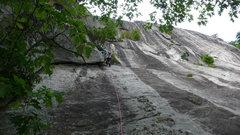 Rock Climbing Photo: Rhett starting P2. The next 80' climb a clean, wid...