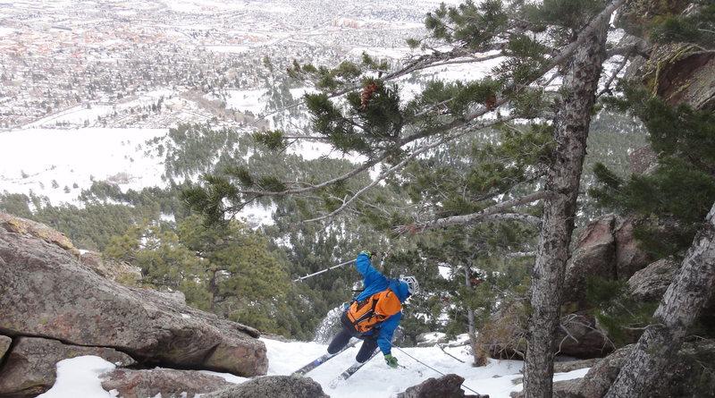 On belay ski descent of the Silk Road 1st Flatiron Boulder, CO