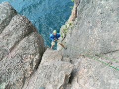 Rock Climbing Photo: Gabe on a climb at Shovel Point on the North Shore