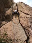 Rock Climbing Photo: Using both cracks.