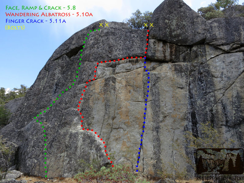 "Routes at the ""H3"" crag."