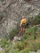 Rock Climbing Photo: Mr. Hanson looking around hoping the rain ends.