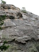 Rock Climbing Photo: The rope is through the draws on Paranoid. The bol...