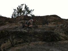 Rock Climbing Photo: Above the first roof on Das Krankenhaus.