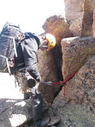 Rock Climbing Photo: Rap station at the top of the Notch - it was a lit...