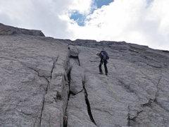 Rock Climbing Photo: One rappel on the descent.