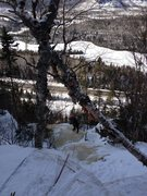Rock Climbing Photo: View from the top.  The ice between the photograph...