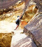 Rock Climbing Photo: Nearing the top of P-1 of Miss Conception.  It's a...