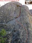 Rock Climbing Photo: Face, Ramp & Crack (5.8)