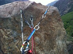 Rock Climbing Photo: Top of second pitch achors