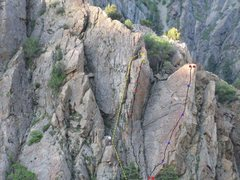 Rock Climbing Photo: Middle line is roughly the route. I'm guessing on ...
