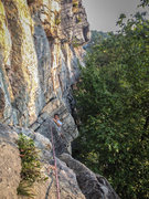 Rock Climbing Photo: Anthony climbing the first pitch of Gelsa. Photo b...