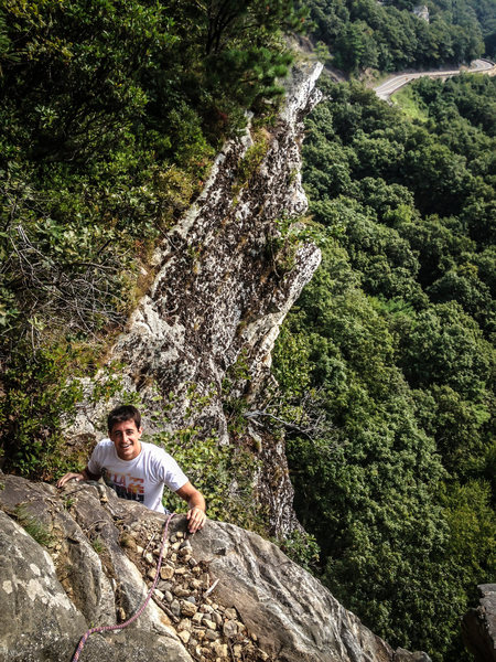 Anthony topping out on Gelsa. Photo by Brian Aitken.