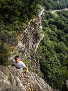Rock Climbing Photo: Anthony topping out on Gelsa. Photo by Brian Aitke...