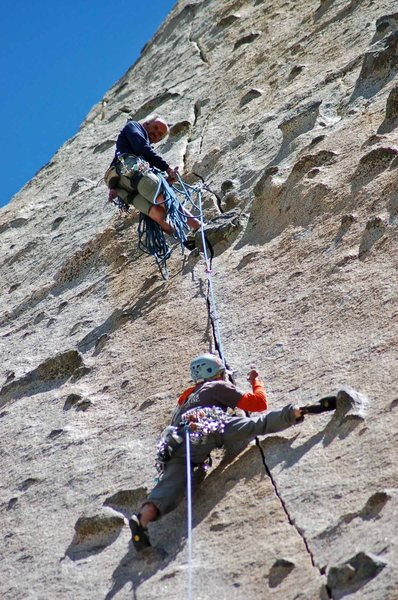 Rock Climbing Photo: Dean and Brian on the crux pitch, Bony Fingers (5....