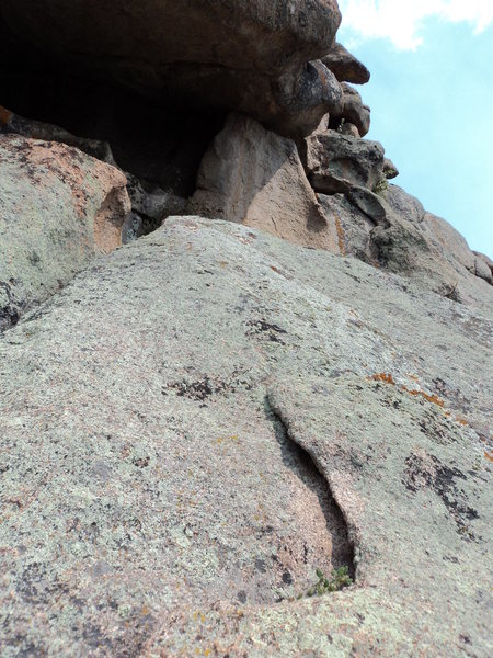 Rock Climbing Photo: The start of P2.  Head right after you get below t...