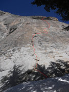 Rock Climbing Photo: Rosanne (5.9 R/X), Fairview Dome. Crazy hard climb...