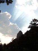 Rock Climbing Photo: On the hike back, Twin Owls gets some nice lightin...