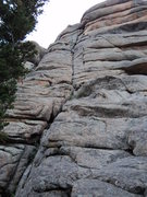 Rock Climbing Photo: Armin in the offwidth section approaching the bela...