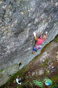 Rock Climbing Photo: Will Carey sticking the first  crux on Luna.