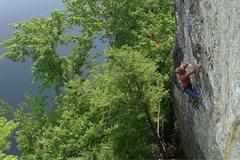 Rock Climbing Photo: Will Carey reaching the horizontal.