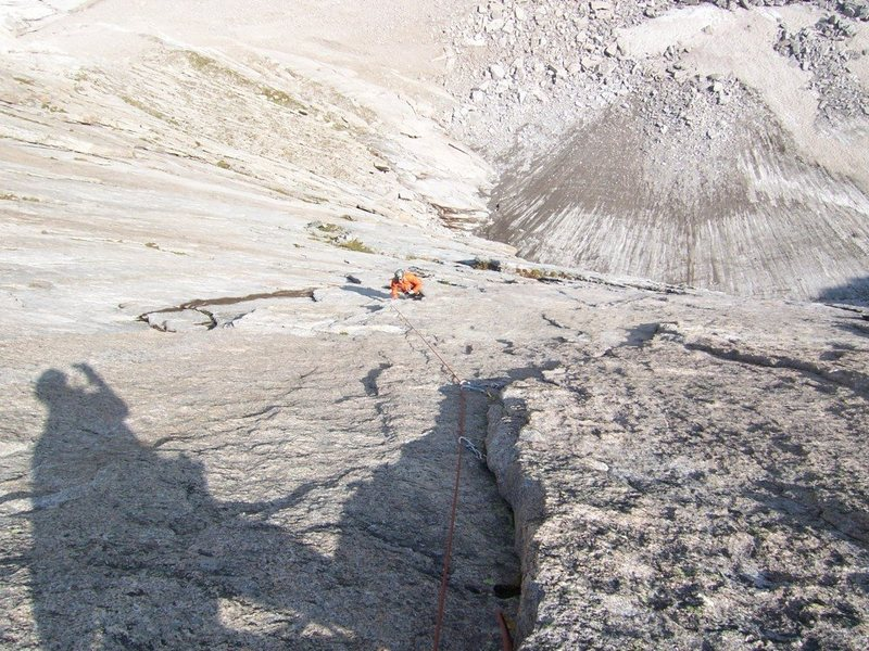 Rock Climbing Photo: Beginning of the runout on the beautiful P5 of Ten...